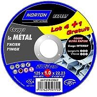 Norton Lot de 4 + 1 Meules tronçonnage métal 125 x 1 x 22,2 mm
