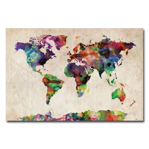 Markenzeichen Fine Art URBAN Aquarell Weltkarte von Michael Tompsett Leinwand Art Wand, 22 by 32