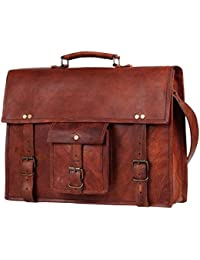 "Crafts Shelter 15"" X 11"" Brown Genuine Leather Laptop Bag"