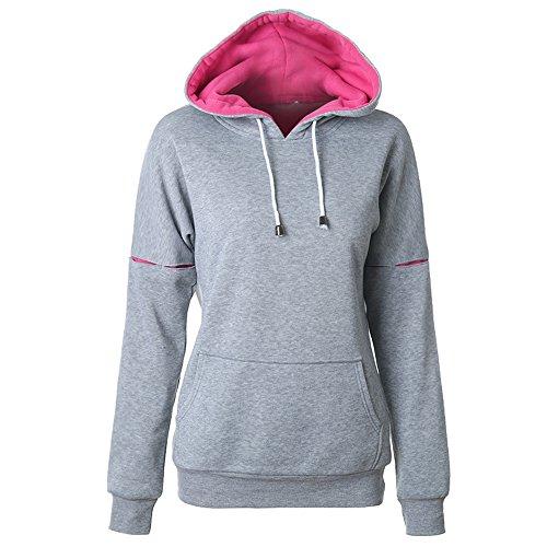 YOSICIL Damen Kaputzenpullover Pullovershirt Sweatershirt Hoodie mit Kaputzen Taschen Training Longshirt Streetwear Sportlich 6 (New York Tracht)