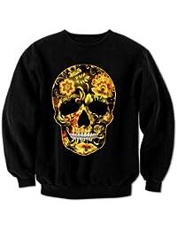 Women's Flower Skull 1 Sweatshirt Black XXL