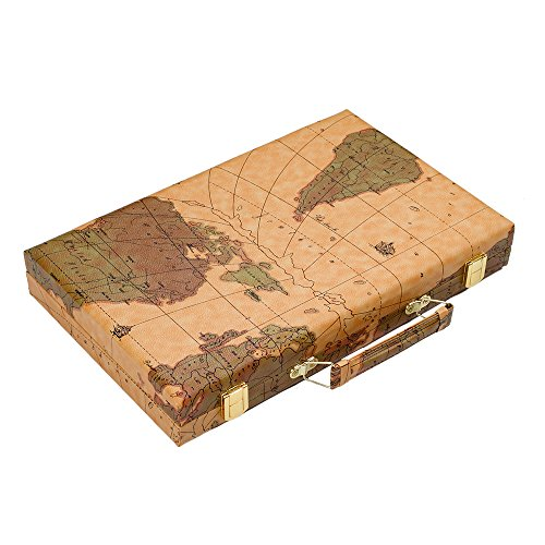 Once ZY Time Luxus-Backgammon-Set Weltkarte Brettspiele Reisen Spiele Falten PU-Leder-Box 15-Zoll