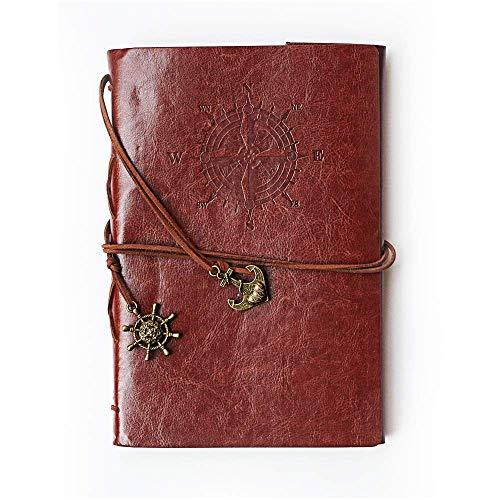POWEROWL Vintage Cubierta de Cuero de la PU Cuaderno Agenda Bloc Libro Cuaderno en Blanco Notebook Libreta de Viaje, Cadena Suelta String Bound