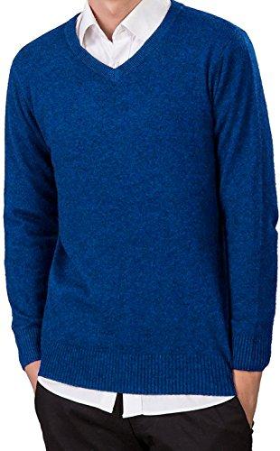 LongMing Herren Männer Kaschmir Wolle V-Ausschnitt Pullover Langarm Freizeit Winter Pulli Komfort-fit/bequeme Form vielseitig kombinierbar Seeblau