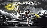 Welt-der-Träume Photo Wallpaper Mural Footballer in Action | P4 (254cm. x 184cm.) | Photo Wallpaper Mural 2000P4-MS | Ball Football Players Sport Goal Pitch Soccer FC
