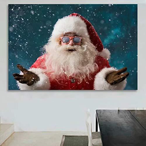 XWArtpic Leinwand Malerei Weihnachtsschmuck Für Zuhause Bilder Klassische Weihnachtsmann Geschenk Drucken Malerei Wandkunst Poster Wohnkultur 60 * 80 cm