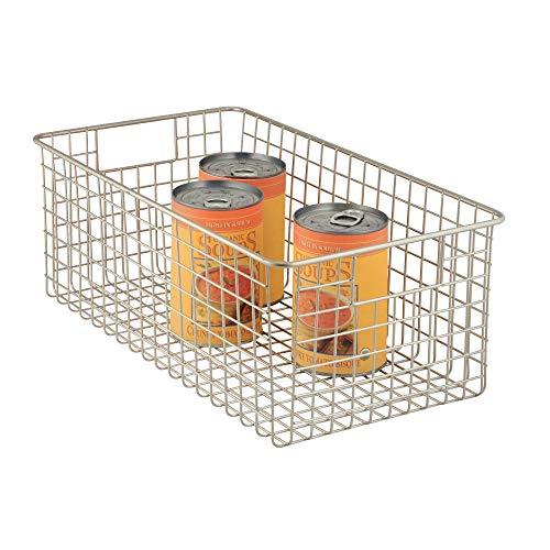 iDesign Aufbewahrungskorb mit Griffen, extragroßer Drahtkorb aus Metall, vielseitig verwendbarer Metallkorb für Küche, Bad oder Vorratskammer, mattsilberfarben