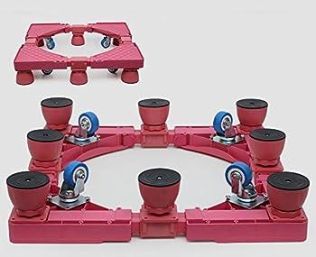 Zjm- Bunte Verstellbare Waschmaschine Sockel Kühlschrank Base Movable Rack Mit Bremse ( Farbe : Pink , Größe : 8 Legs ) 0