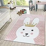 TT Home Kinder Teppich Modern Süßer Hase Mit Krone Punkte Design Spielteppich Rosa Weiß, Größe:80x150 cm