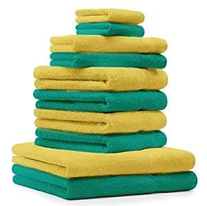 10 tlg. Handtuch Set Premium Farbe Smaragd Grün & Gelb 100% Baumwolle 2 Duschtücher 4 Handtücher 2 Gästetücher 2 Waschhandschuhe