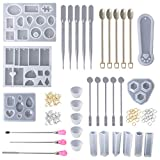 Lazder - 1 juego de resina epoxi, molde de silicona, cuchara, dedo, guantes, anillos, metal, joyas, collares, marcapáginas, herramientas necesarias