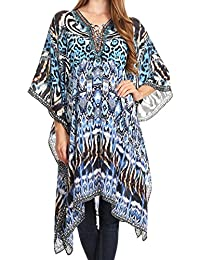 Sakkas Kristy Long Tall Lightweight Caftan Dress/Cover Up With V-Neck Jewels