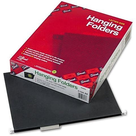 Smead®–Carpetas colgantes, 1/5de corte, 11Point Stock, Carta, Negro, 25/caja–Se Vende como 1–Caja de carpetas colgantes mantienen los Papeles perfectamente Vertical en el