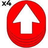 Freccia multiuso adesiva | Pack da 4 segnali da 16,5 cm per pavimento, pareti, porte, ecc.