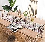 MOOMDDY Tischläufer, Baumwollbettwäsche Wohnzimmer Küche Büro Couchtisch, Schuhschrank TV-Schrankbett, Dekoratives Geschirr, Bettfahne,Purple,32 * 200M