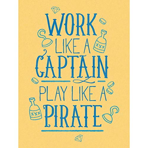 Wee Blue Coo LTD Quote Typography Motivation Work Captain Pirate Art Print Poster Zitat Typografie Arbeit KAPITÄN Kunstdruck