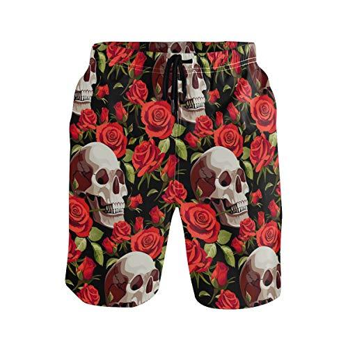 nd Shorts Halloween Totenkopf Rot Rose Drawsting Badehose Badeanzug Bademode Netzfutter mit Tasche Gr. XL, Mehrfarbig ()