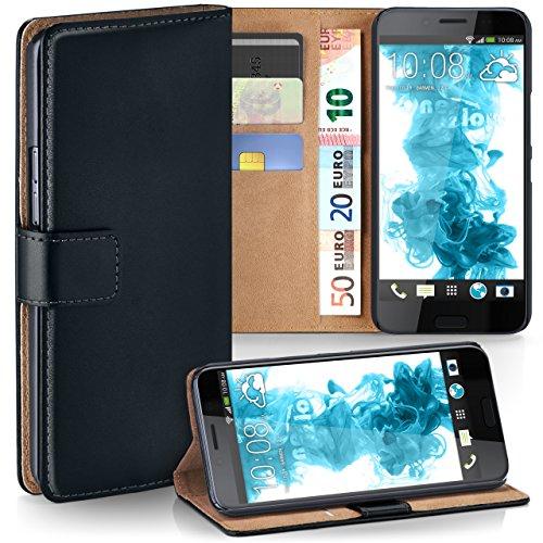 moex HTC 10 Evo   Hülle Schwarz mit Karten-Fach 360° Book Klapp-Hülle Handytasche Kunst-Leder Handyhülle für HTC One 10 Evo Case Flip Cover Schutzhülle Tasche