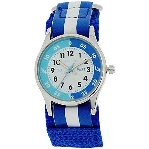 Reflex Time Teacher Blue amp; White Velcro Strap Boys Girls Children Watch REFK0001