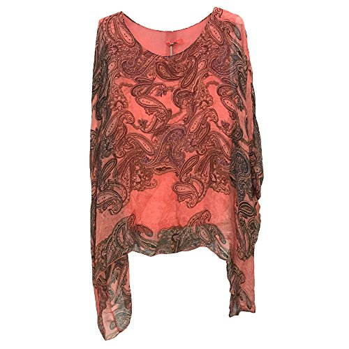 Ladies Womens Italian Lagenlook NEW BIG Paisley Print Silk Flowy Batwing Tunic Top Blouse One Size (One Size, Coral) (Scoop Sleeve Neck Batwing)