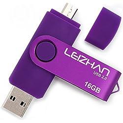 LEIZHAN 16GB OTG (On the Go) USB Dual Port (USB 2.0 und Micro USB) Speicherstick Schwenken Flash Drive Externer Speichergerät USB Stick zum Android Smartphone & Tablet Lila