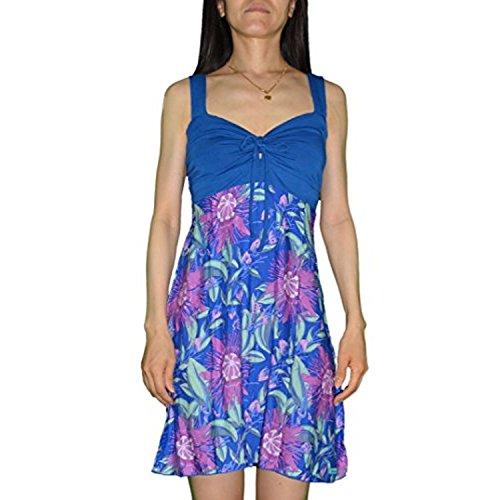 Lycra-front-krawatte (Jo Damen Lilikoi Blumen Lycra Krawatte Front Kleid BLUE 2X PLUS)