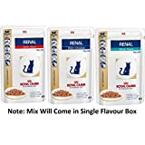 Royal Canin Feline Renal Mix of x6 Tuna x6 Chicken x6 Beef Cat Food each 85gram (Pack of 18) Wet Cat Food Premium
