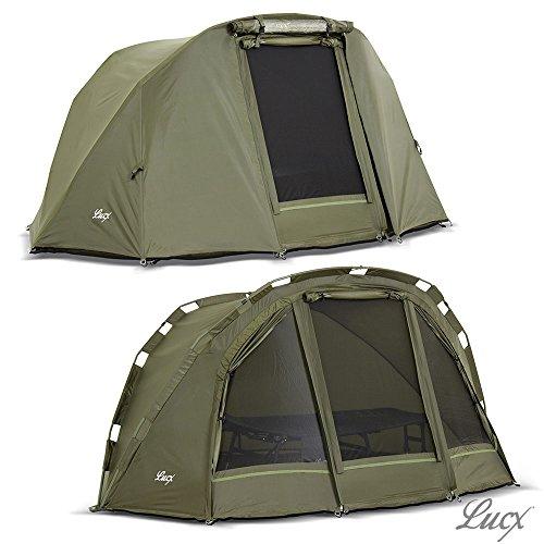 Lucx® Puma Bivvy + Winterskin / Angelzelt inkl. Überwurf / Karpfenzelt / Carp Dome + Overwrap / Zelt, 10.000mm Wassersäule Campingzelt