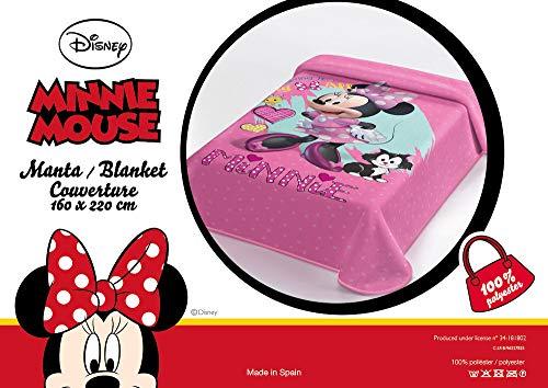 OEKO-TEX Manta Terciopelo Disney Modelo: Minnie Mouse, Color: Rosa, Medida: 160x220 (Ideal para Cama de 90cm.)