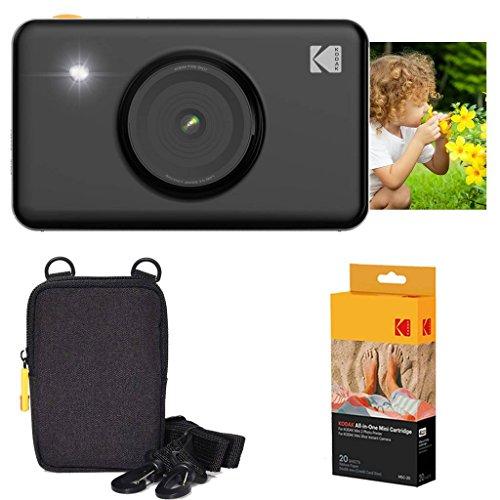 Kodak mini shot stampante fotografica istantanea (nero) confezione base + carta fotografica (20 fogli) + custodia deluxe