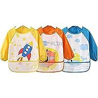oral-q unisex bambini childs bambini arti artigianato dipinto grembiule bambino impermeabile bavaglini con maniche e tasche, 6-36 mesi, serie di 3
