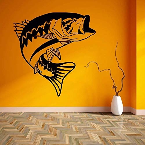 guijiumai Angeln Aufkleber Fisch Bass Decal Angeln Haken Tackle Shop Poster Vinyl Wall Decals Hunter Decor Wandaufkleber schwarz 86x86 cm - Heckscheibe Fisch-aufkleber
