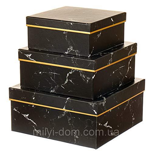VIPOLIMEX 3er Set eckige Geschenkschachteln mit Deckel, Marmor-Optik, Dekorationsschachtel, quadratisch, marmoriert, Goldrand, Schwarz oder Weiß
