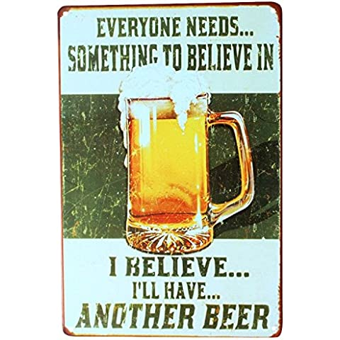 Retro KTV Pub Bar Cerveza Vino Potable Publicidad Tin Sign – Placa de metal placas de pared de 20 cm x 30 cm, metal, A, talla