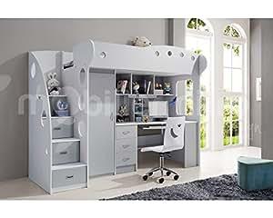 lit mezzanine mae gris et blanc cuisine maison. Black Bedroom Furniture Sets. Home Design Ideas