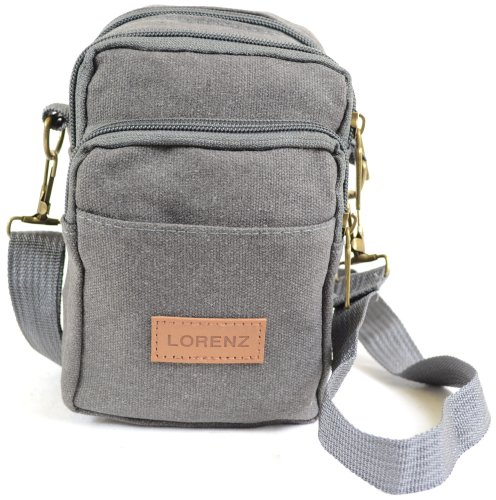 Mens / Ladies Small Handy Canvas Bag / Belt Bag, use with Detachable Shoulder Strap or Belt Loop ( Grey )