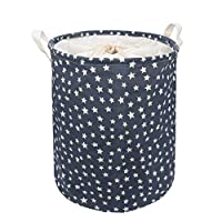 Youful Dirty Clothes Storage Bag Large Pop-Up Laundry Hampers Drawstring Waterproof Round Cotton Linen Collapsible Storage Basket (Blue)