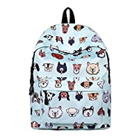 Inwagui Unisex School Backpack Cute Dogs Print Student Book Bag Casual Travel Daypack Laptop Rucksack for Boys Girls Teenagers - Blue