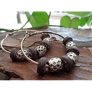 ❤ BREITE 4 CM CREOLEN & KOKOS HOLZ ETHNO BOHO TRIBAL ❤ auffällige, einmalige Ohrringe mit Metall und Holz