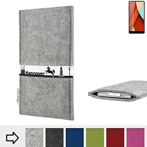 flat.design für Bluboo D5 Pro Schutz Tasche Handyhülle Skyline mit Webband Hannover - Maßanfertigung der Schutz Hülle Handytasche aus 100% Wollfilz (hellgrau) für Bluboo D5 Pro