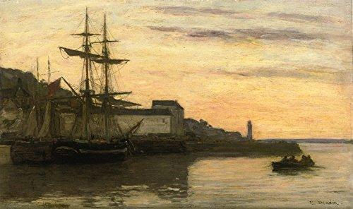 OdsanArt 50,8 cm X 30,48 cm Post impressionismo altri 'Honfleur, barche a vela' da Eugene-Louis Eugene fine arte stampe su tela di alta qualità