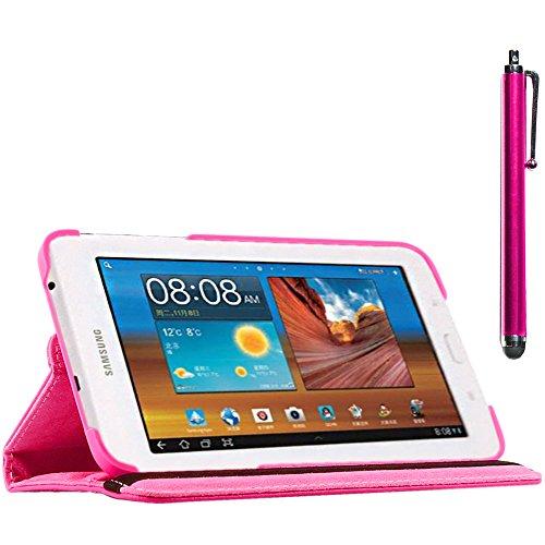 ebestStar - compatibel Samsung Galaxy Tab 3 Lite 7.0 Hülle SM-T110, VE SM-T113 Rotierend Schutzhülle Etui, Schutz Hülle Ständer, Rotating Case Cover Stand +Stift, Pink [Tab: 193.4 x116.4 x9.7mm 7.0