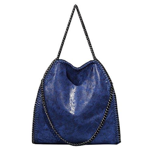 Damen PU Shopper Beuteltasche mit Kette lässigen Kette Tragetasche Schultertaschen Frauen Tote Bag Blau