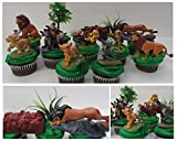 LION KING 11 Piece Birthday CUPCAKE Topper Set Featuring Simba, Nala, Scar, Timon, Zazu, Hyena's, and Mufasa, Themed Decorative Accessories, Figures average 2' to 3' Tall