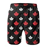 Nisdsh Boy Quick Dry Gray and Red Canada Maple Leaf Beach Shorts Swim Trunks Surf Board Shorts Large