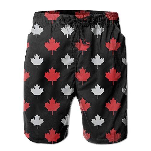 VLOOQ-HX Junge schnell trocknend grau und rot Kanada Ahornblatt Strand Shorts Badehose Surf Board Shorts