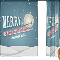 jstel Merry Christmas 2 pezzi Voile tenda di finestra, Notte d' inverno Natale Alce, Tulle Sheer Curtain Drape Valance 139,7 x 198,1 cm Set di due pannelli, Poliestere, Blue, 55x84x2(in)