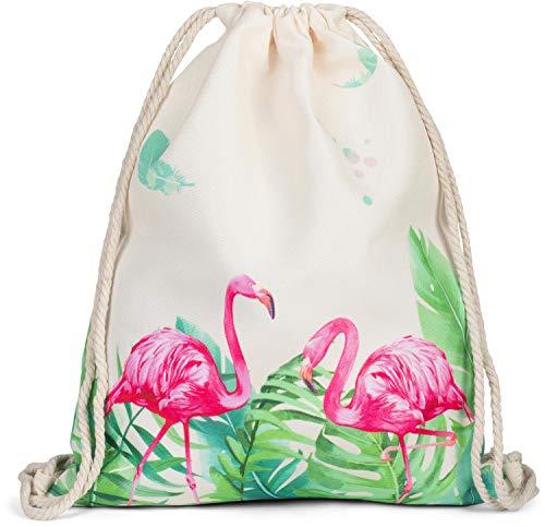 styleBREAKER Turnbeutel mit Flamingo Palmen und Feder Print, Rucksack, Sportbeutel, Beutel, Unisex 02012297, Farbe:Beige