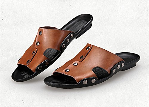 dqq hommes de chaussons antidérapants sur la diapositive Sandal Marron - marron