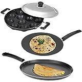 BMS Lifestyle Non-Stick 12 Cavity Appam Patra/Appam Maker, Dosa Tawa And Chapati Tawa Cookware Set, 3-Pieces, Black
